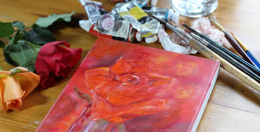 Vernice per accelerare l'asciugatura di un dipinto ad olio.